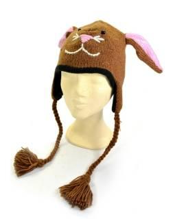 Čiapka s ušami, detská, zajac, hnedá