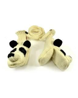 Rukavice, detské, panda, bielo-čierne