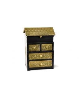 Drevená skrinka, mosadzné kovania, 4 šuplíčky + vrchné veko, 21x15x31cm