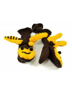 Rukavice, detské, včielka, žlto-hnedé