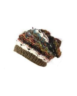 Vlnená čiapka, patchwork vlna, bavl, hodváb, khaki