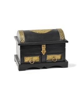 Drevená truhlička s mosadzným kovaním, 2 šuplíčky, 25x12,5x18cm