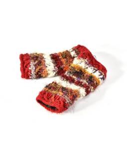 Vlnené rukavice bez prstov, patchwork vlna, bavl, hodváb, červená