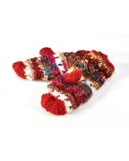 Vlnené rukavice palčiaky, patchwork vlna, bavl, hodváb, červené