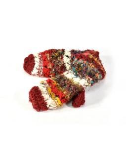 Vlnené rukavice palčiaky, patchwork (vlna, bavl, hodváb)