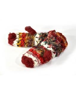 Vlnené rukavice palčiaky, patchwork vlna, bavl, hodváb, vínová