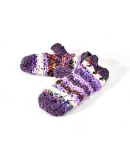 Fialové vlnené rukavice palčiaky, patchwork (vlna, bavl, hodváb)
