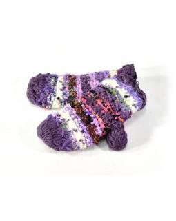 Vlnené rukavice palčiaky, patchwork vlna, bavl, hodváb, fialová