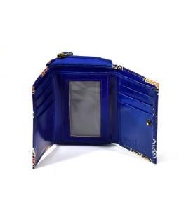 "Kožená peňaženka, design ,, butterfly "", modrá, 12x9cm"