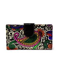 Ručne maľovaná kožená peňaženka, Paisley, čierna, 18x10cm