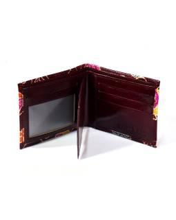 Ručne maľovaná kožená peňaženka, Happy owls, vínová, 12x9cm