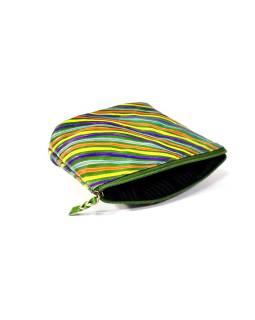 """Ručne maľovaný kožený neceséry, """"Stripes"""", zelený, 16x10cm"""