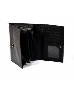 Luxusná peňaženka z mäkkej kože, čierna, dizajn flowers, 16x11cm