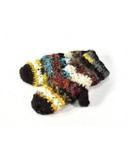 Vlnené rukavice palčiaky, patchwork vlna, bavl, hodváb, čierne