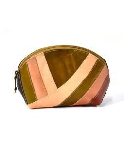 """Kožený neceséry """"Stripes"""", hnedá, zips, 20x13cm"""