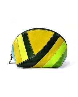 """Kožený neceséry """"Stripes"""", zelená, zips, 20x13cm"""