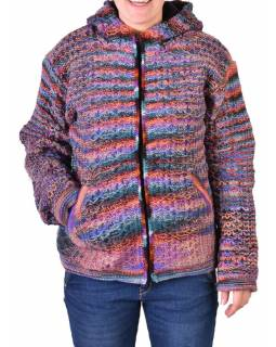 Vlnený sveter s kapucňou a vreckami, unisex, fialovo-zelený
