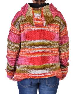Vlnený sveter s kapucňou a vreckami, unisex, mulatibarevný