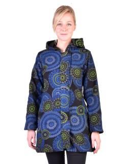 Čierny fleecový kabát s kapucňou zapínaný na zips, potlač mandál, vrecká