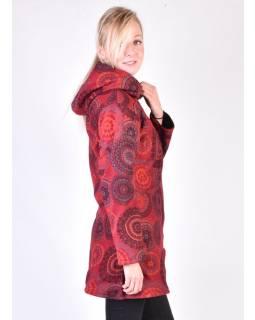Vínový fleecový kabát s kapucňou zapínaný na zips, potlač mandál, vrecká