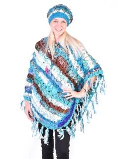 Dámske vlnené pončo, patchwork hodváb a bavlna, strapce, tyrkysové