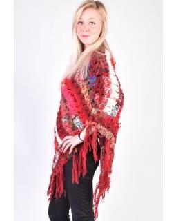 Dámske vlnené pončo, patchwork hodváb a bavlna, strapce, červené