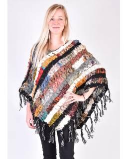 Dámske vlnené pončo, patchwork hodváb a bavlna, strapce, čierne