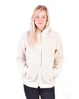 Biely vlnený sveter s kapucňou a vreckami, unisex
