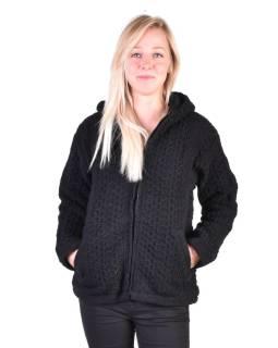 Čierny vlnený sveter s kapucňou a vreckami, unisex