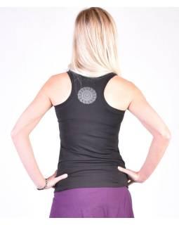 Čierne tielko na jogu z bio bavlny, Chakra potlač a výšivka