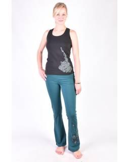 Dlhé smaragdovo zelené nohavice na jogu z bio bavlnye Kitamari