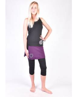 Čierne trojštvrťové nohavice so sukňou na jogu z bio bavlny, Chakra potlač a výšivky