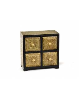 Drevená Skink s mosadzným kovaním, 4 šuplíky, 20x10x20cm