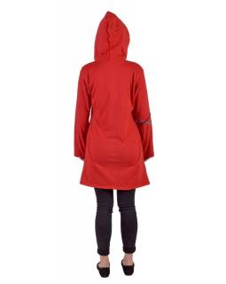 Predĺžená červená mikina s kapucňou zapínaná na zips, mandala potlač