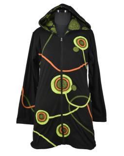 Predĺžená čierno-zelená mikina s kapucňou zapínaná na zips, mandala potlač