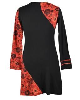 Krátke CERM-červené šaty s dlhým rukávom, Butterfly dizajn, výšivka