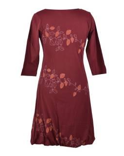 Krátke vínovej šaty s potlačou leaves, trojštvrťové rukáv, V výstrih