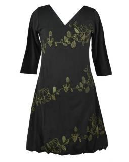 Krátke čierne šaty s potlačou leaves, trojštvrťové rukáv, V výstrih
