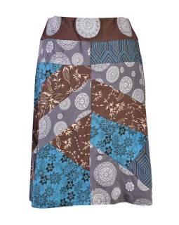 Šedá patchworková sukne po kolená, mix výtlačkov a Chakra aplikácie