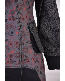 Sivý kabátik s kapucňou a asymetrickými zipsy, Mix tlač, vrecká