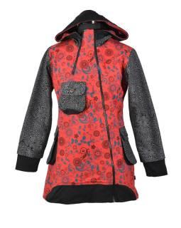 Červeno šedý kabátik s kapucňou a asymetrickými zipsy, Mix tlač, vrecká