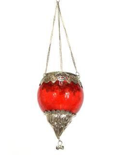 Závesný sklenený svietnik, červený, kovové zdobenie, 10x10x13cm