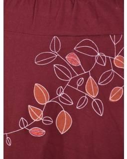 """Krátka vínová balónová sukňa, """"Leaves"""" dizajn, tehlový potlač a výšivka"""