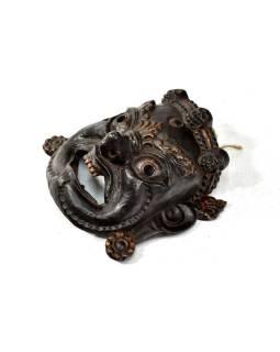 Bhairab, drevená maska, čierna, ručné práce, 30x30cm