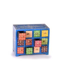 Drevená skrinka s 12 zásuvkami, ručne maľovaná, modrá, 25x14x21cm