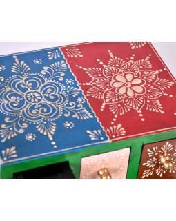 Drevená skrinka s 6 zásuvkami, ručne maľovaná, modrá, 19x14x15cm