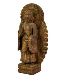 Budha Maitreya, drevená socha, ručné práce, antik úprava, 34cm