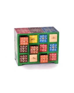 Drevená skrinka s 12 zásuvkami, ručne maľovaná, zelená, 25x14x21cm