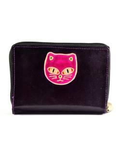 """Peňaženka design """"Cat 's head"""", ručne maľovaná koža, tmavo fialová, 15x10cm"""
