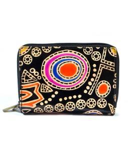 """Peňaženka design """"Space circles"""", ručne maľovaná koža, modrá, 15x10cm"""